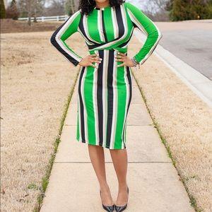 Dresses & Skirts - Green, Black and White Striped Midi Dress
